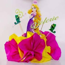 Centro tavola personaggio con picks sagomati Rapunzel