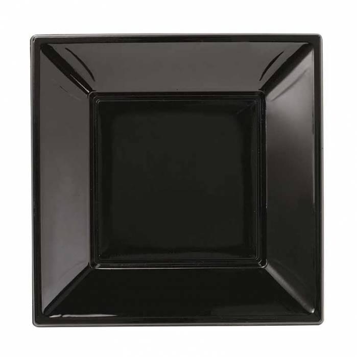 Piatto quadrato nero in plastica rigida 23cm