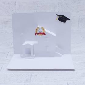 Biglietto auguri laurea architettura casa 3D