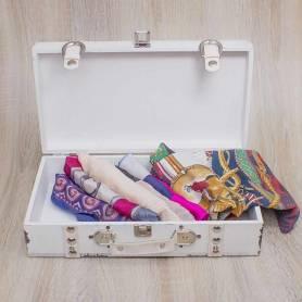 Set 2 valigie in legno bianco anticato con dettagli in pelle