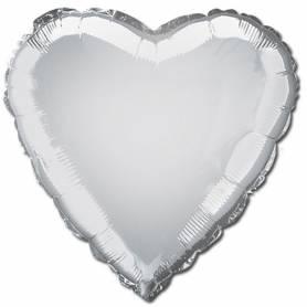 Palloncino mylar cuore argento 46 cm