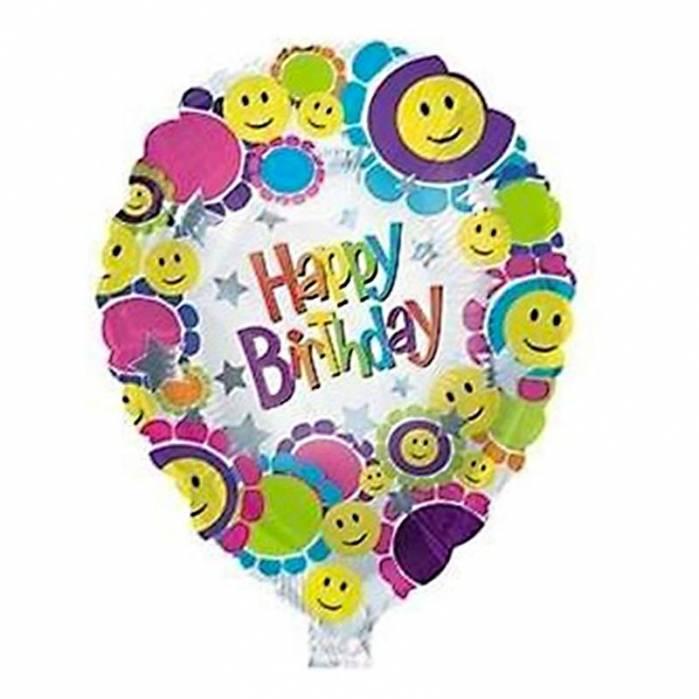 Palloncino mylar  Happy Birthday Smile emoji