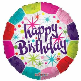 Palloncino mylar Happy Birthday Stars