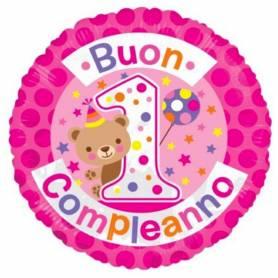Palloncino tondo Buon 1° Compleanno rosa con orsetto