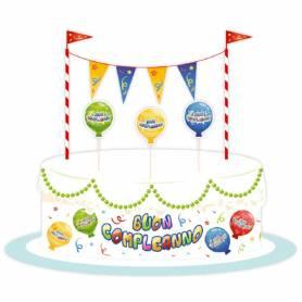 Set decorazioni torta buon compleanno balloon