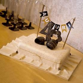 Topper bandierine per torta dorata e nero