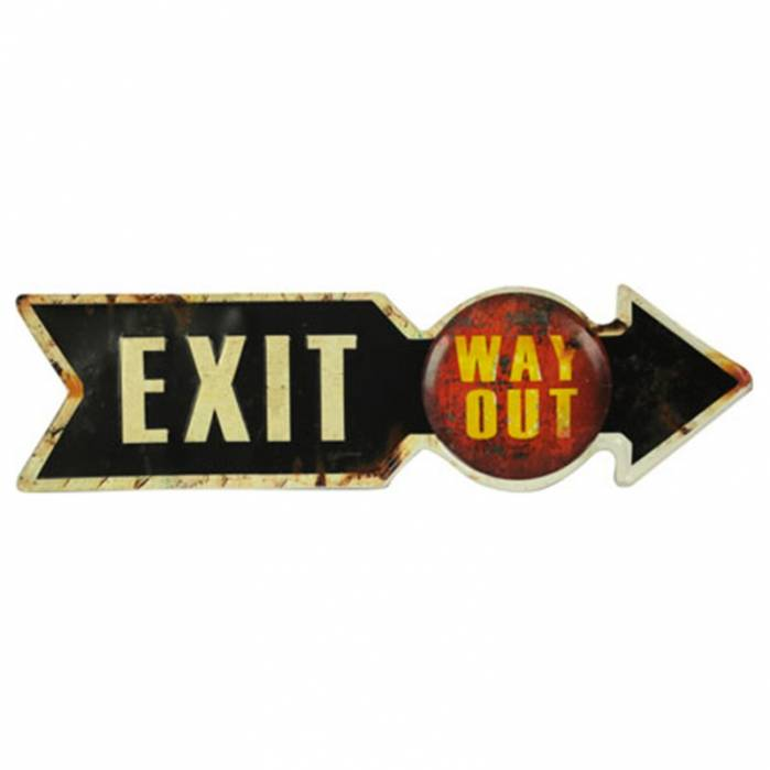 Placca Metallo 'Exit Way Out'