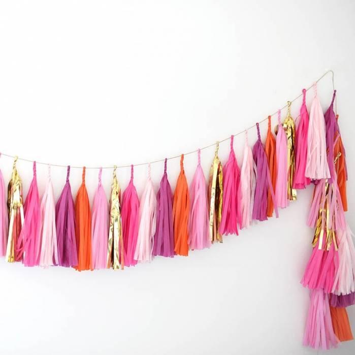 Festone nappine maxi pink orange 3mt