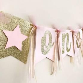 Bandierine personalizzate glitter oro con stelle