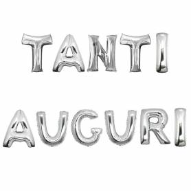 Palloncini lettere argento tanti auguri