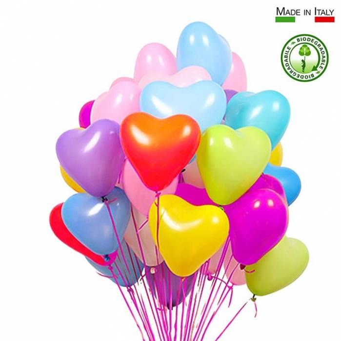 Palloncini cuore lattice biodegradabili colori assortiti