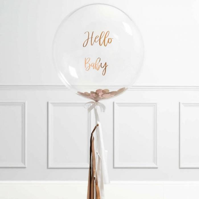 Palloncino trasparente personalizzato con coriandoli oro rosa