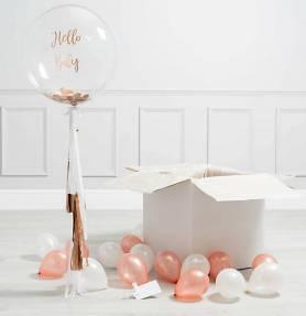Palloncino bubble personalizzato oro rosa