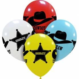 Palloncini stampati vecchio west cowboy assortiti
