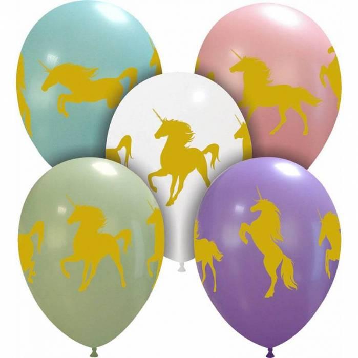Palloncini lattice stampa unicorni oro, colori assortiti