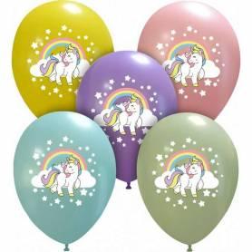 Palloncini stampa unicorno arcobaleno