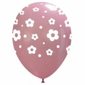 Palloncino rosa stampa fiori grandi