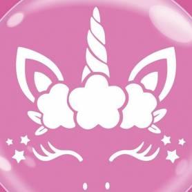 Palloncino Trasparente Bubble Party Unicorno bianco
