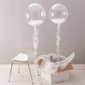 Palloncino Trasparente Bubble con piume