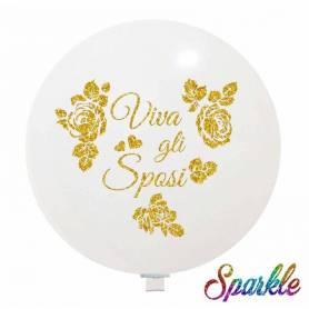 Palloncino Glitter Viva Gli Sposi oro