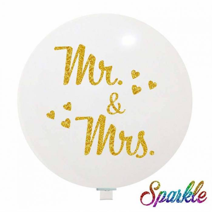 Palloncino bianco Glitter Mr. & Mrs.