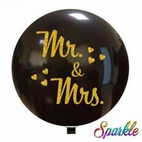 Palloncino Nero Glitter Mr & Mrs