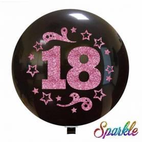 Palloncino Numero 18 Glitter Rosa