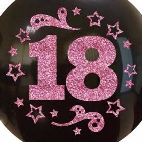 Palloncino Numero 18 Glitter Rosa stelle