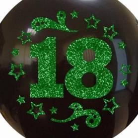 Palloncino Numero 18 Glitter Verde stelle