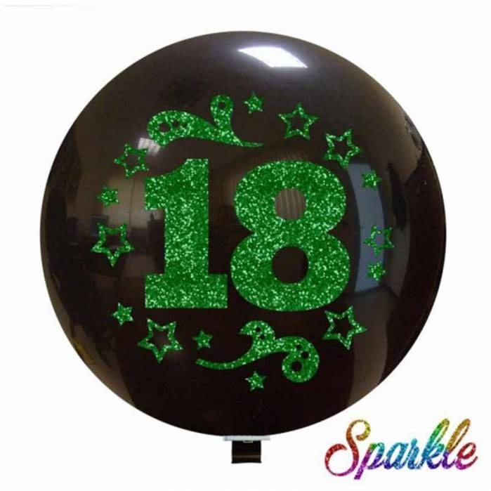 Palloncino Numero 18 Glitter Verde