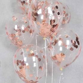 Palloncini Coriandoli Oro Rosa Metallizzati