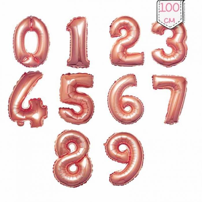 Palloncino Numero Oro Rosa