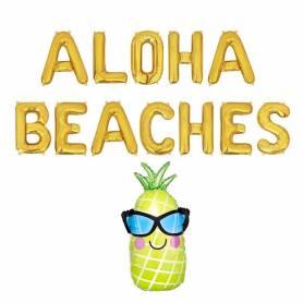 Palloncini Aloha Beaches lettere oro