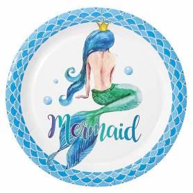 Piatti 23 cm sirena blu 6 pz