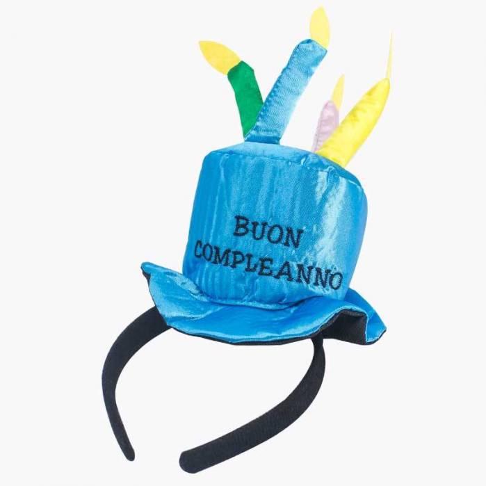 Cappello torta buon compleanno azzurro