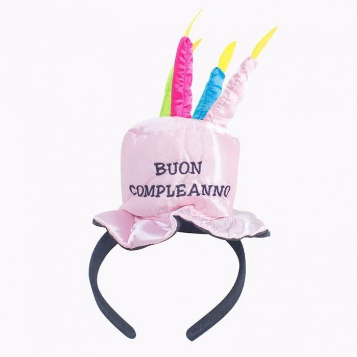 Cappello torta buon compleanno rosa