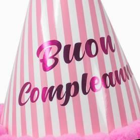 Cappellino Righe Buon Compleanno Rosa