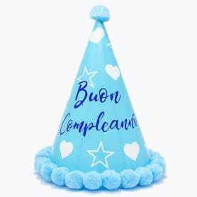 Cappellino stelle e cuori Buon Compleanno celeste