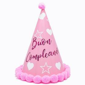 Cappellino stelle e cuori Buon Compleanno rosa