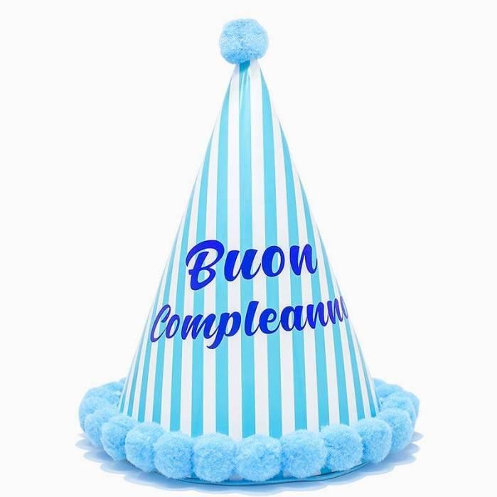 Cappellino Righe Buon Compleanno Celeste