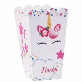 Scatola per pop corn personalizzata unicorno stelline