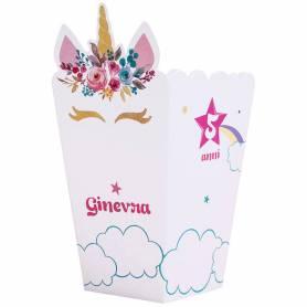 Scatola pop corn personalizzata unicorno