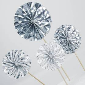 Picks ventagli argento 4 pz