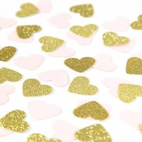 Coriandoli cuori rosa oro glitter
