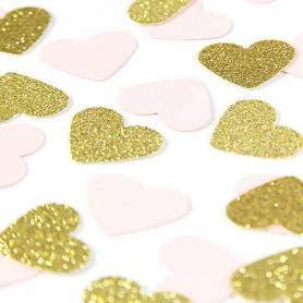 Coriandoli cuori rosa oro
