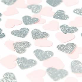 Coriandoli cuori rosa argento glitter