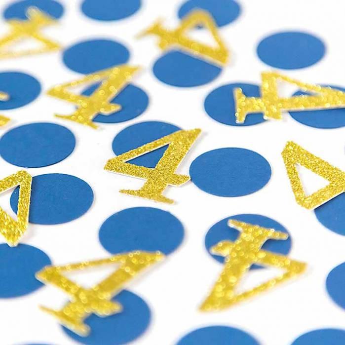 Coriandoli tondi blu e numero oro glitter