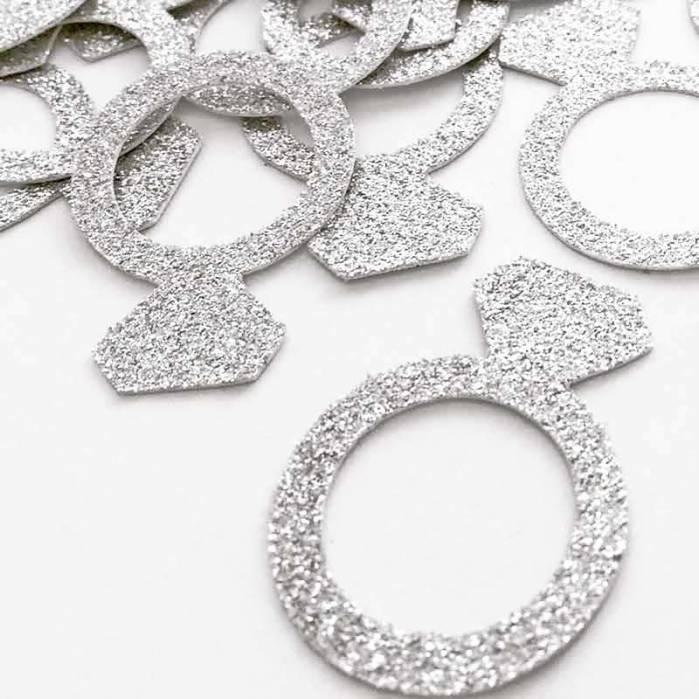 Coriandoli anelli argento glitter
