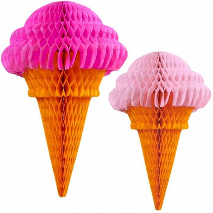 Coppia decorazioni gelati nido d'ape rosa