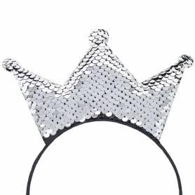 corona paillettes argento